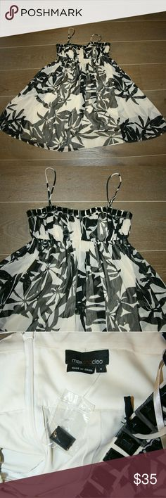 Max & Cleo Dress Max & Cleo Dress Size 6 Black & White crepe print Mini dress Spaghetti straps Beaded details Fully lined Empire waist Max & Cleo Dresses Mini