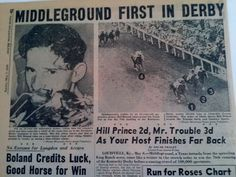 MAY 1950 NEWSPAPER #2008- BILL BOLAND WINS KENTUCKY DERBY ON MIDDLEGROUND- 8PGS