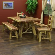 Red Cedar Log Dining Table - JHE's Log Furniture Place
