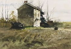 Andrew Newell Wyeth-The Mill House at Ivy Mills, Pennsylvania. Andrew Wyeth Paintings, Andrew Wyeth Art, Watercolor Landscape, Landscape Art, Landscape Paintings, Watercolor Art, Watercolour Paintings, House Landscape, Jamie Wyeth