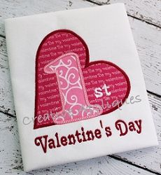 1st Valentine's Day Applique - 4 Sizes! | Baby | Machine Embroidery Designs | SWAKembroidery.com Creative Appliques