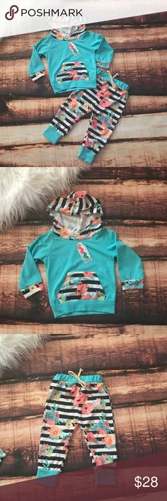 Blue Stripes & Floral Baby Toddler Little Girl Set So cute!!! Let your little one be trendy!! This cute little outfit will have them looking good and feeling comfy! Set includes 1 pair of paints and 1 Hoodie pullover top shirt. Boutique Matching Sets