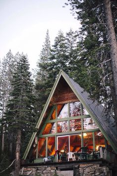 Tiny house a frame cabin design modern ideas extraordinary architecture glass wall patio A Frame Cabin, A Frame House, Cabin Homes, Log Homes, Chalet House, Ski Chalet, Haus Am See, Cabins And Cottages, Cabins In The Woods