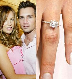 Kate Beckinsale's Engagement ring - I love the look of a sideways emerald cut! Celebrity Wedding Rings, Jewelry Rings, Jewelry Ideas, Jewellery, Diamonds And Gold, Pretty Rings, Kate Beckinsale, Dream Ring, Gold Engagement Rings