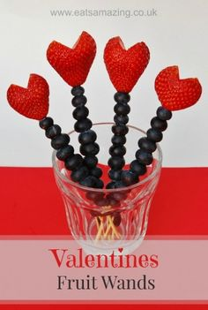 Healthy Valentines Day Food for Kids - Easy Fruit Skewers make a fun healthy snack idea for Valentines Day!