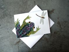 Frog and Dragonfly Art Greeting Card  Bug Art by PatWarwickTiles, $3.50