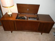 1960s stereo console  1970s stereo console; loved ours!  It had great sound and was less apt to let a record skip when you walked around.  Ours finally gave out in the 1980's