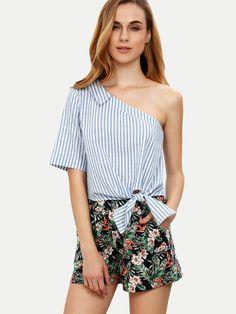 Blue Striped Tie Hem One Shoulder Blouse -SheIn(Sheinside)