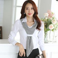 High quality new fashion women's shirt slim formal scarf collar long-sleeve brand blouses office ladies plus size tops