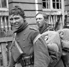Two young German soldiers are photographed in Lauban during the battle to retake the town from the Soviets. Lauban was the site of one of Germany's last military victories; after the town was taken by the Soviet Army on 16 February 1945, the German's...