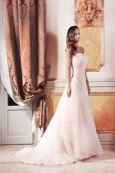 Abito in organza di seta rosa cipria - Atelier Bolzoni Spose