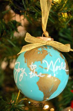 DIY Ornament Idea from @amousser | Joy To The World Ornament | Painted Ornament