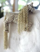 Heidi Daus Signed pin brooch horse with Gold-tone Chains Crystals NWOT