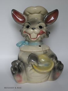 Smiling Chef Gray Bunny Vintage Cookie Jar by Brush Pottery Co. circa 1950s