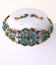 Austrian rhinestone Necklace & Post Earrings