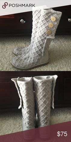 Ugg boots Lattice cardy tall knit Ugg boots in cream, worn only 3 times and in great condition. These can be worn folded down or as pictured, and they are very warm! UGG Shoes Winter & Rain Boots