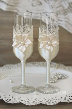 Lace Flower Toasting Flutes Champagne Glasses by VioletAtelier