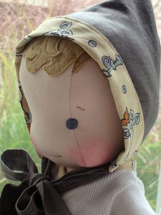 "Custom Made 14"" cloth baby doll in all natural materials"