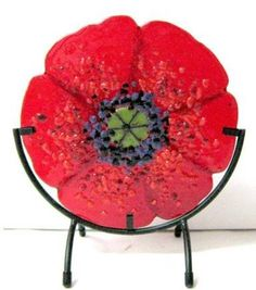 """""""Red Poppy"""" by Anne Nye, a fine art fused glass sculpture, $150"""