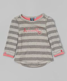 Loving this Heather Gray Stripe 'Adorable' Top - Infant on #zulily! #zulilyfinds
