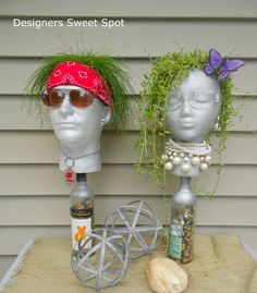 meet my new garden head butch, crafts, gardening, Remember Betty Bling She s Butch s friend You haven t seen the last of them they will be back this summer Face Planters, Diy Planters, Garden Planters, Garden Crafts, Garden Projects, Garden Ideas, Stone Spray Paint, Styrofoam Head, Styrofoam Crafts