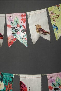 DIY Party Decor - use old fabric scraps to make this cute garland. Connect with bakers twine Yet another things to do with fabric scraps. Sewing Crafts, Sewing Projects, Craft Projects, Diy Crafts, Sewing Ideas, Crochet Crafts, Craft Ideas, Fabric Bunting, Bunting Garland