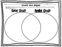Electric Circuits Venn Diagram: Open, Closed, Series, and Parallel Circuits Fourth Grade Science, Primary Science, Science Curriculum, Elementary Science, Physical Science, Science Classroom, Teaching Science, Science Activities, Science Ideas