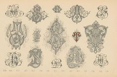 Schriftarten und  Zierschriften pm 1890  monogramme d