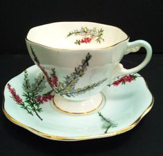EB Foley Blue Teacup and Saucer Highland Heather Pedestal Footed Tea Cup