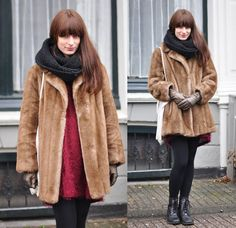 Vintage Faux Fur Coat, Monki Sweater/Dress, Vintage Boots