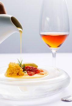 Marinated blood orange, saffron cream and pistachio ice cream. 2 Michelin Star restaurant at The Yeatman Hotel in Porto.
