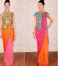 Papa don't preach # saree # peplum blouse # fusion look # Sari Blouse Designs, Designer Blouse Patterns, Design Patterns, Latest Saree Blouse, Stylish Sarees, Saree Styles, Clothes For Women, Peplum Blouse, Long Blouse