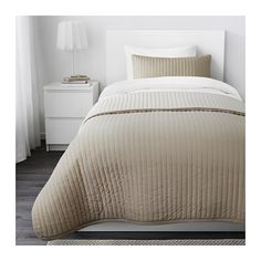 KARIT Bedspread and cushion cover, beige beige Twin/Full (Double)