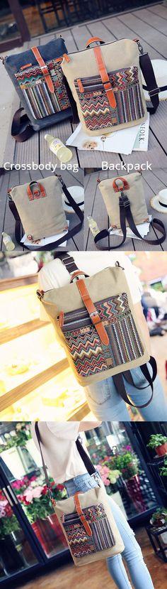 US$24.89  Woman Canvas Crossbody Bag Rainbow Color Retro Shoulder Bag