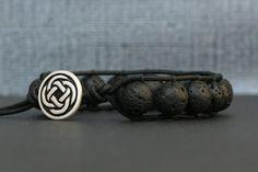 black lava single wrap bracelet on matte black leather - celtic knot button - unisex womens mens