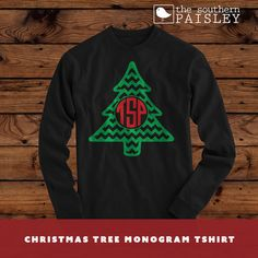 Chevron Christmas Tree Monogram T-Shirt - Long #clothing #shirt @EtsyMktgTool http://etsy.me/2xzQopy