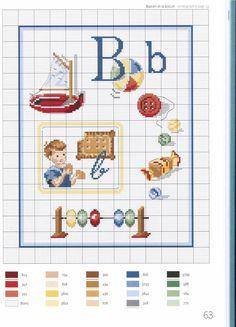 point de croix grille et couleurs de fils abecedaire enfants, lettre b