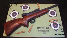 Rifle Cake ~ for all shooting enthusiasts! By Chelsea Cake Company Dad Birthday Cakes, Leo Birthday, Happy 21st Birthday, Masculine Cake, Gun Cakes, Camo Cakes, Hunting Birthday, Cakes For Men, Love Cake
