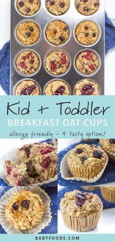 These allergy-friendly Toddler Breakfast Oat Cups are about to make your crazy mornings a whole lot easier (and more delicious)! They are made with whole food ingredients such as oats, bananas, coconut oil and maple syrup and are refined sugar free, dairy Baby Food Recipes, Gourmet Recipes, Whole Food Recipes, Cooking Recipes, Food Baby, Baby Foods, Whole Foods, Celiac Recipes, Kid Recipes