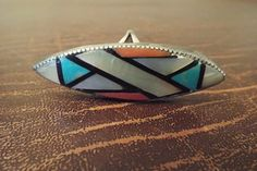 Zuni Sterling Silver Ring Size 6 Inlaid Mosaic by Burnedbunnybling