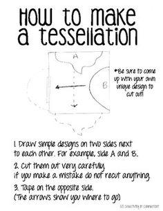 How to Make a Tessellation Handout, m. escher, escher, elementary art, op art Source by johnstonfa Op Art Lessons, Art Lessons Elementary, Tessellation Patterns, Escher Tessellations, Doodle Patterns, Mc Escher Art, Middle School Art Projects, 8th Grade Art, Art Worksheets