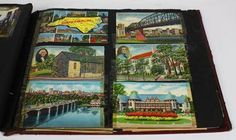 (Lot of 50 ) Postcard group, 1950-60, depicting primarily American cities and tourist destinations, in a red tooled album, 11.5 l x 15 w