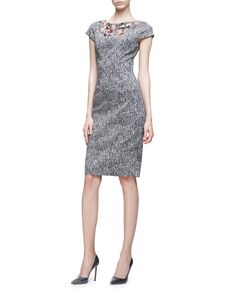 "Lela Rose embroidered sheath dress. Approx. length: 39.5""L down center back. Jeweled, floral-embellished bateau neckline. Cap sleeves. Fitted silhouette. Straight hem with 6.5""L center back slit. Hidd"