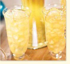 Fruit Cooler (2 qts orange juice  2 qts pineapple juice  1 qt white grape juice  3/4 cup sugar 1 liter ginger ale 4 lemons)