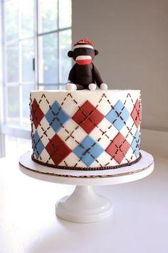 Colorful Monkey Sock Birthday Cake