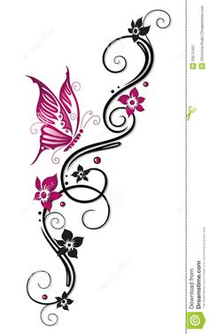 Illustration about Floral tribal, tattoo in black and pink. Illustration of flora, foliage, filigree - 33575451 Band Tattoos, Ankle Tattoos, Foot Tattoos, Body Art Tattoos, Butterfly Painting, Butterfly Art, Butterflies, Pink Ribbon Tattoos, Tribal Flower Tattoos
