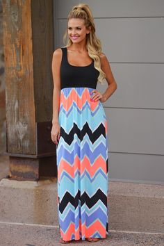 For The Love of Neon Maxi Dress - Black from Closet Candy Boutique