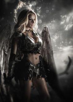 FrameBox Matte Painting, Concept Art and Illustration Fantasy Warrior, Fantasy Girl, Chica Fantasy, Angel Warrior, Fantasy Art Women, Beautiful Fantasy Art, Dark Fantasy Art, Fantasy Artwork, Fantasy Characters