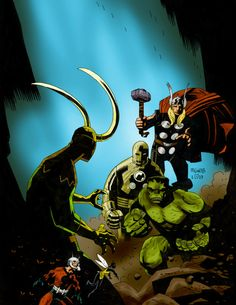 Loki vs. The Avengers (Color) by Mike Mignola