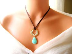 Leather Chrysoprease green/mint wire wrapped gold by NKcollection, $37.00